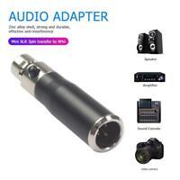 Mini XLR 3 Pin Male to Mini XLR 4 Pin Female Metal Audio Mic Connector Adapter