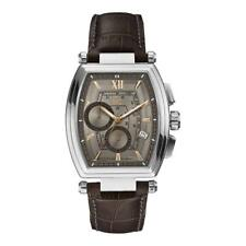 Guess Collection brown leather Chronograph Men retro silver case Watch Y01002G1