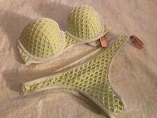 Victorias Secret NEW Swim Push Up Bandeau Top Bottom Fishnet White Green 32D,XS