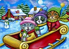 Original Cats Kittens Snowman Winter Sleigh Riding Moon Mouse Snow ACEO Print