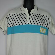 Vintage 80s Le Coq Sportif S Made Japan White Polo Shirt Teal Yellow Spell Out