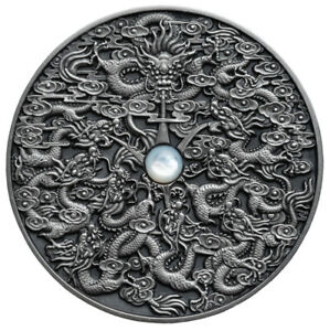 NINE DRAGONS Chinese legend NIUE 5$ 2020 AF Silver 2oz w/ Mother of Pearl inlay