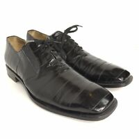 Classic Men's MEZLAN PLATINUM CASPEO Black Exotic Eel Skin Oxfords Shoe 9.5