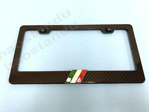 1x ITALIAN FLAG 3D Emblem Real 3K TwillWeave CARBON FIBER License Plate Frame