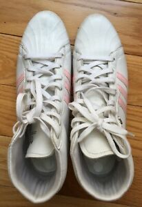 ADIDAS ORIGINALS Womens White Pink Leather High Tops Size 6