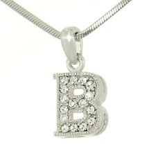 B Capital Uppercase Letter Made With Swarovski Crystal Initial Pendant Necklace