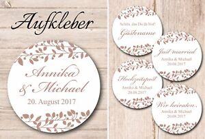 Verschiedene Aufkleber Hochzeit - Mistel - cappuccino - 40mm - personalisiert -