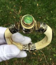Gold Fill Bracelet with Peridot Stone Vintage Bovine Bone Hinged Pin Cuff Silver