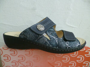 Turm Ladies Mules Slippers House Shoes Real Leather Blue New