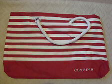 BRAND NEW CLARINS BEACH SHOPPING HOLIDAY BAG  RED STRIPEY WHITE ROPE HANDLES