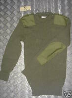 Genuine British Army, Green Commando Wool Jumper. Crew Neck Very Warm Size - 36""