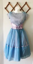 1950's CUPCAKE PROM DRESS FORMAL Kitsch ICE BLUE Bow Sheer Rockabilly Pin Up Xs