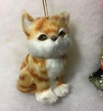 Gold Cat Faux Fur Christmas Tree Ornament Kitten