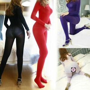 Women Super Elastic Jumpsuit Velvet Body Stockings Long Sleeve Lingerie Bodysuit