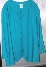 Roaman's Green Rayon Long Sleeve Shirt -Misses Size C2 - Bust - 64""