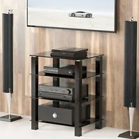 4-Tier Black Glass Media Component Stand Audio Rack AV Tower Video Shelves