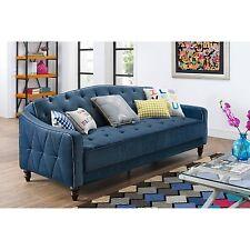 Novogratz Vintage Tufted Sofa Sleeper II Navy Velour Living Room Furniture Couch