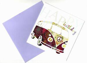 HAPPY BIRTHDAY GREETING CARD - GLITTERY - CAMPER VAN - QUALITY - FREE P&P