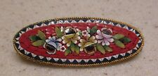 Beautiful Vintage Italian Micro Mosaic Glass Flower Brooch Pin Made In Italy