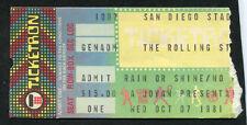 1981 Rolling Stones J. Geils concert ticket stub Tattoo You Tour San Diego CA
