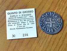 Antica Moneta ZECCA CUNEO 1307 1309 QUINTO DI GROSSO CARLO II D' ANGIO' ARGENTO
