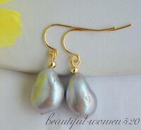 Z6553 14mm gray baroque freshwater pearl dangle earring 14k/20