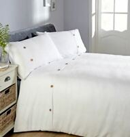 WAFFLE BUTTON TRIM WHITE COTTON BLEND DOUBLE DUVET COVER