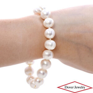 Estate 11-12.5mm Pearl 14K Gold Bead Bracelet 34.7 Grams NR