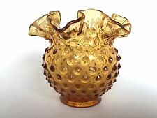 Fenton Colonial Amber Hobnail Round Floral Vase Vintage Glass 4.25 inches High