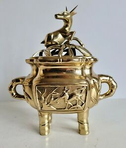 MAGNIFICENT ORIENTAL BRONZE LIDDED CENSER - UNUSUAL SEAL MARK - CHINESE JAPANESE