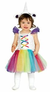 Girls Toddlers Rainbow Unicorn Fancy Dress Costume Babies Outfit
