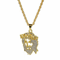 "Men's Hip Hop Gold Plated Jesus Face Charm Crystal Pendant 27.5"" Chain Necklace"