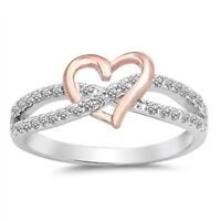 925 Sterling Silver Infinity Rose Gold Heart Clear CZ Promise Ring Size 4-12