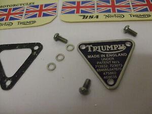 z  TRIUMPH T150 T160 Patent Plate 70-8762 71-1440 assembly 8 piece set €FA JLY21
