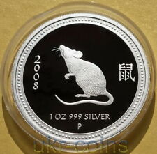 2008 Australia Lunar I Series Year of the Mouse Rat 1 Oz Silver Proof Coin Perth