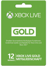 XBOX 360 LIVE 12 MONATE GOLD MITGLIEDSCHAFT Month Card KARTE CODE Key