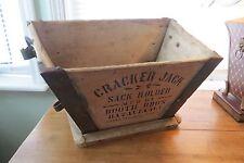 Vintage Cracker Jack 1890s wood sack holder, Booth Brothers, advertising, steel