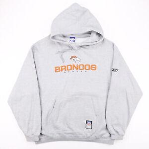Vintage REEBOK NFL Denver Broncos Grey 00s Pullover Hoodie Mens XL