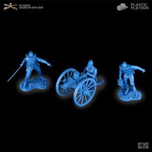 Plastic Platoon Toy Soldier US Cavalry Gatling Gun With Crew New 2021