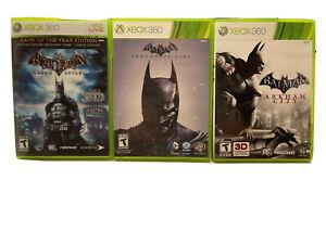 Lot -3 Batman Microsoft Xbox 360: Arkham City, Asylum + Origins Bundle Complete