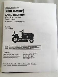 "Owner's Manual Sears Craftsman 17 HP Lawn Tractor 42"" Mower - Model 917.271660"