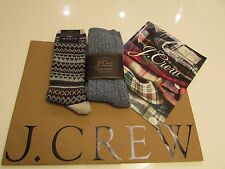 J.Crew Womens  Authentic Camp Socks  2 Pairs  Socks / One Size / Blue  Fair Isle