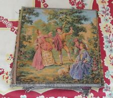 """Vintage tapestry fabric square 10"""" x 10""""  Country Courting Dancing Scene FRANCE"""