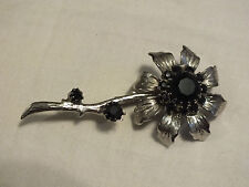 Lovely Brooch Pin Silve Tone Flower Textured Black Rhinestones 3 x 1 1/4 In Wow