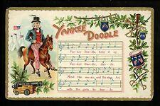 Music Vintage postcard Song sheet Yankee Doodle patriotic Uncle Sam #2032