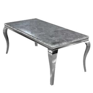160cm Louis Light Grey Marble Dining Table 1.6m Modern Chrome Steel