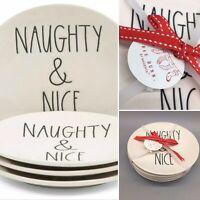 "x4 RAE DUNN Appetizer Dessert Plate Set Christmas NAUGHTY NICE Black LL 6"" NEW"