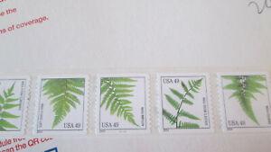 Ferns 49c Coil Strip of 5, #4848-4852 MNH