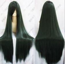 100CM Sailor Moon Pluto Meiou Setsuna Long Straight Dark Green Cosplay Wig