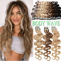 Seamless Wavy-Blonde Weft Tape In Human Hair Extensions Remy Full Head Blonde US